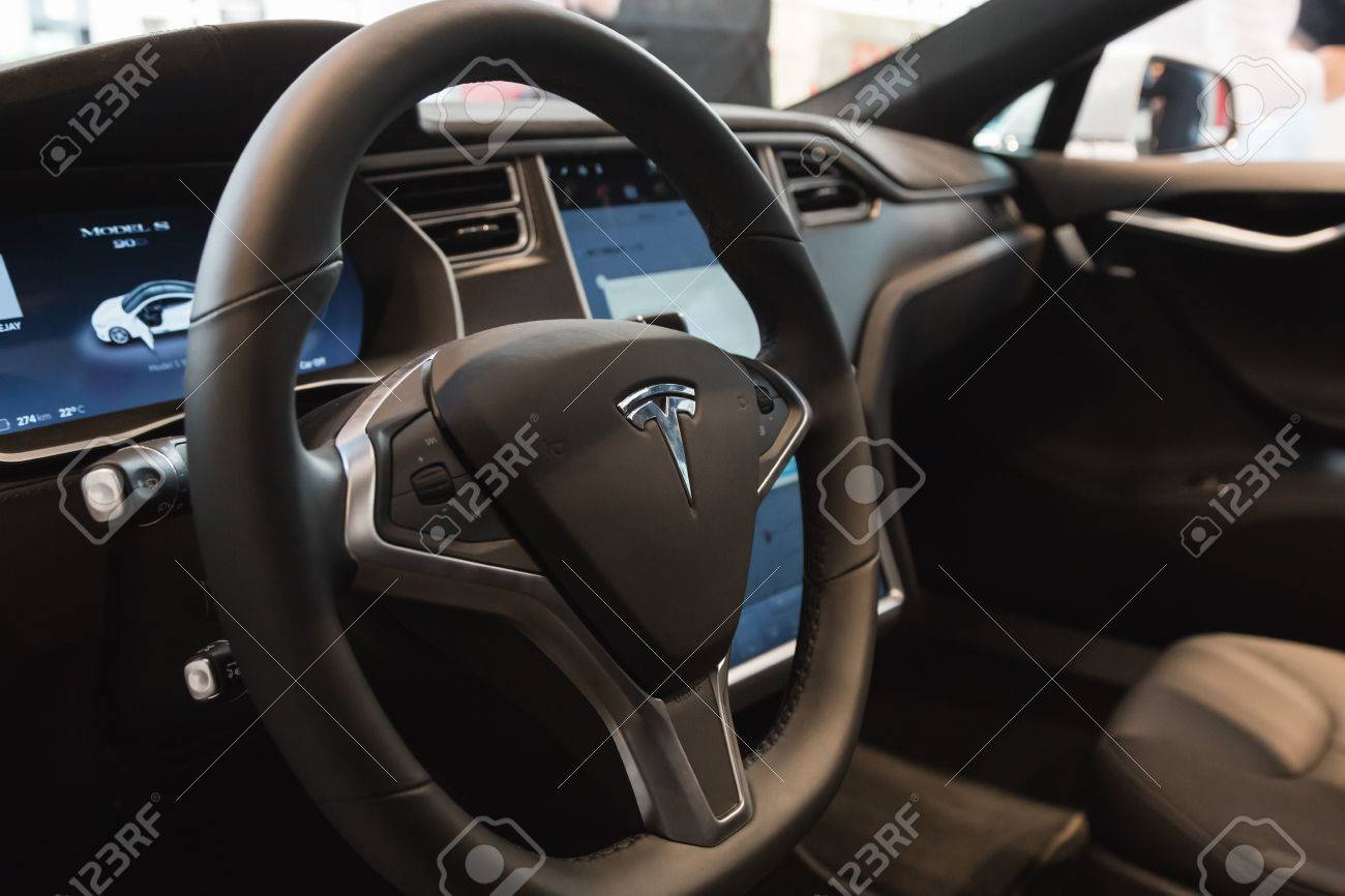 Milan Italy March Interior Of Tesla Model S