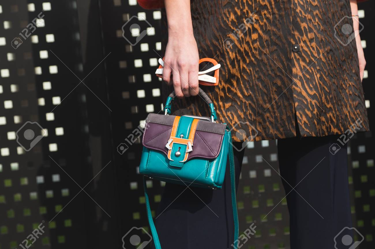fce3364f MILAN, ITALY - FEBRUARY 22: Detail of bag outside Gucci fashion show  building during