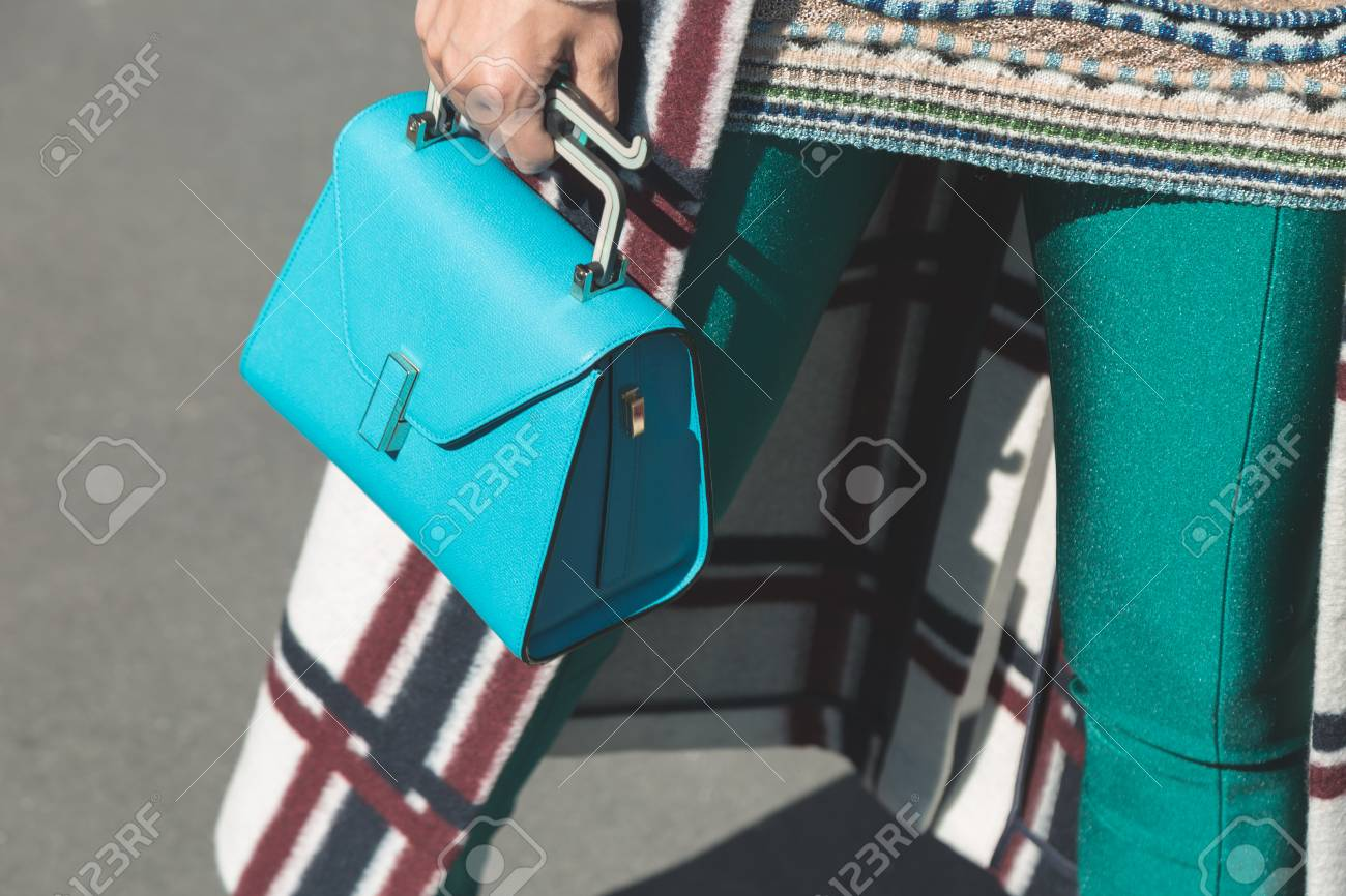e45f5ae4 MILAN, ITALY - SEPTEMBER 20: Detail of bag outside Gucci fashion show  building during