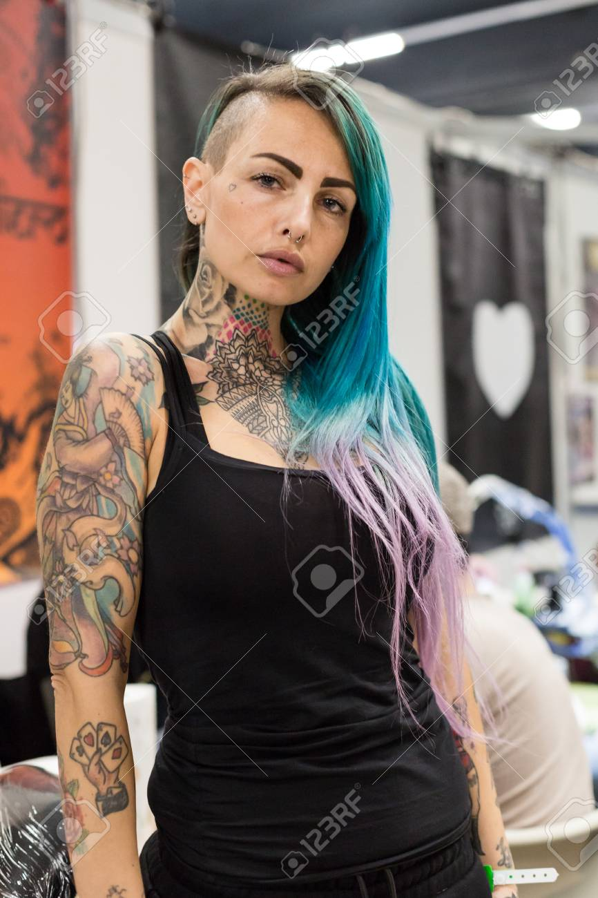 Milan Italy February 9 2018 Beautiful Tattooed Girl Poses Stock Photo Picture And Royalty Free Image Image 104472875