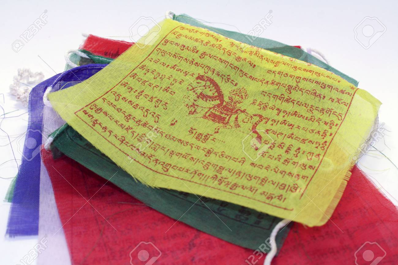 The colorful Tibetan Nepal Buddhism prayer flags  It has mantra