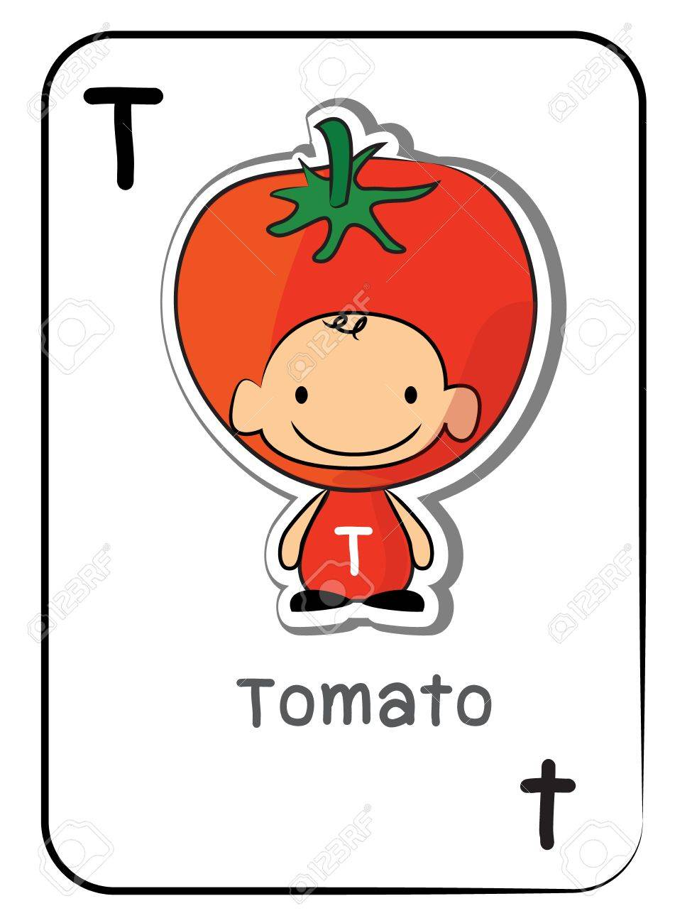 T For Tomato Of Fruit Flashcard Vector Illustration On White Background Stock