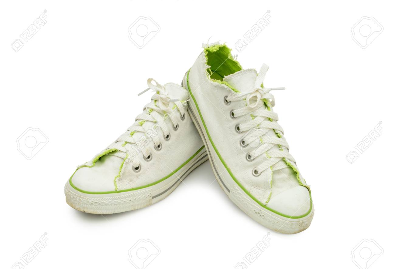 White And Green Canvas Shoes On White