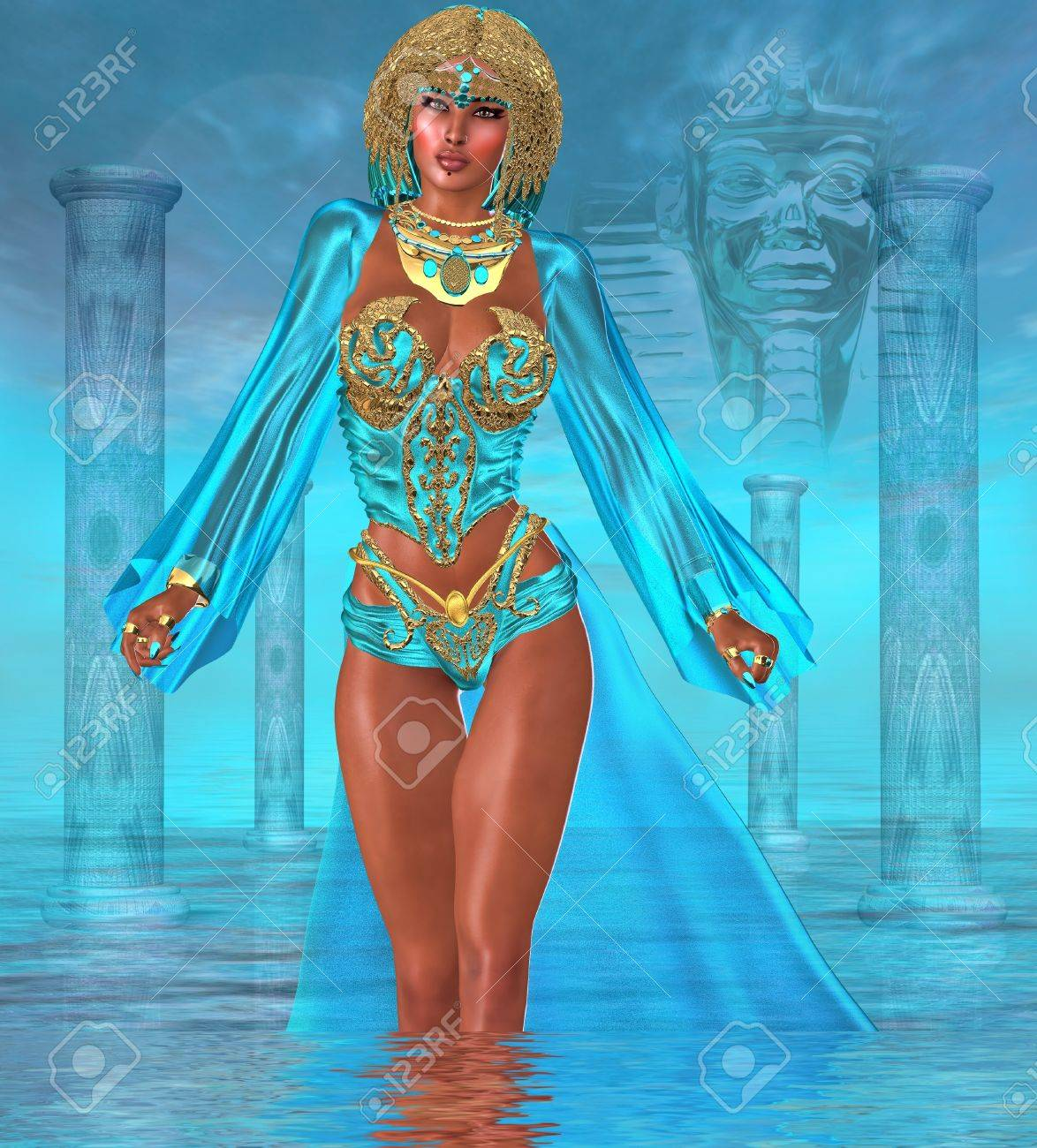 Ocean Goddess Standing In Water Deep within the oceans of the