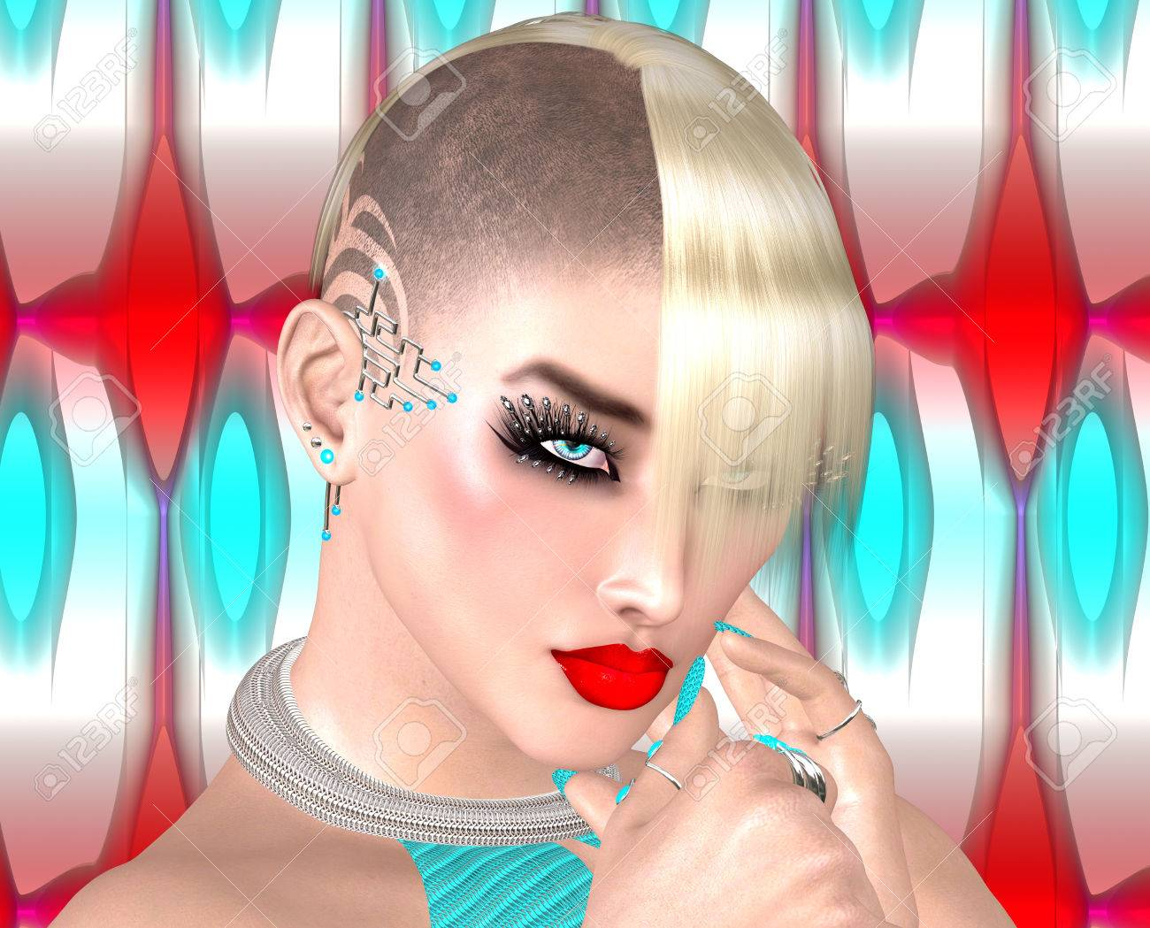 Punk Girl With Mohawk Hairstyle On Red White And Blue Abstract