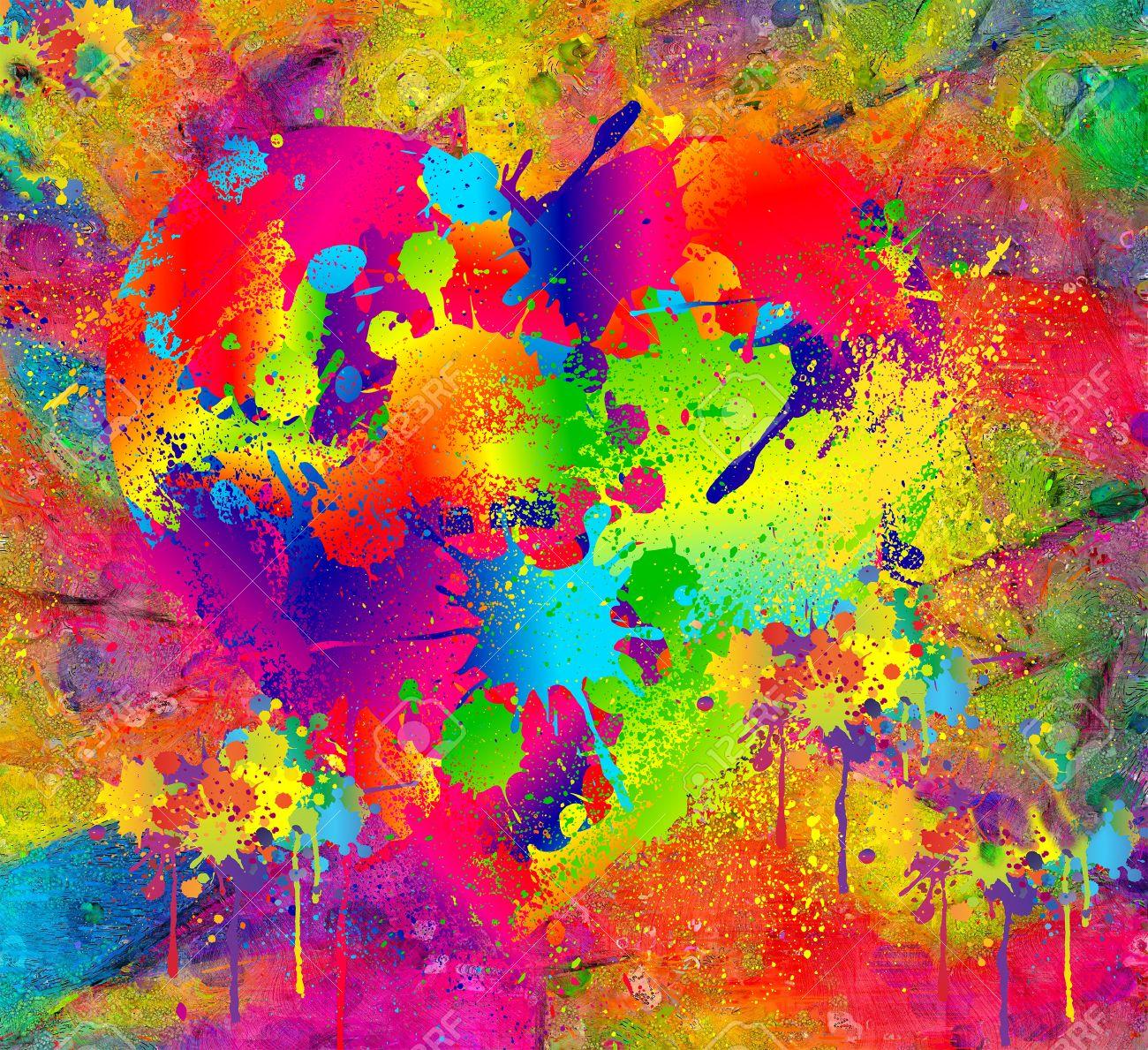 抽象的な背景とカラフルな塗りた...