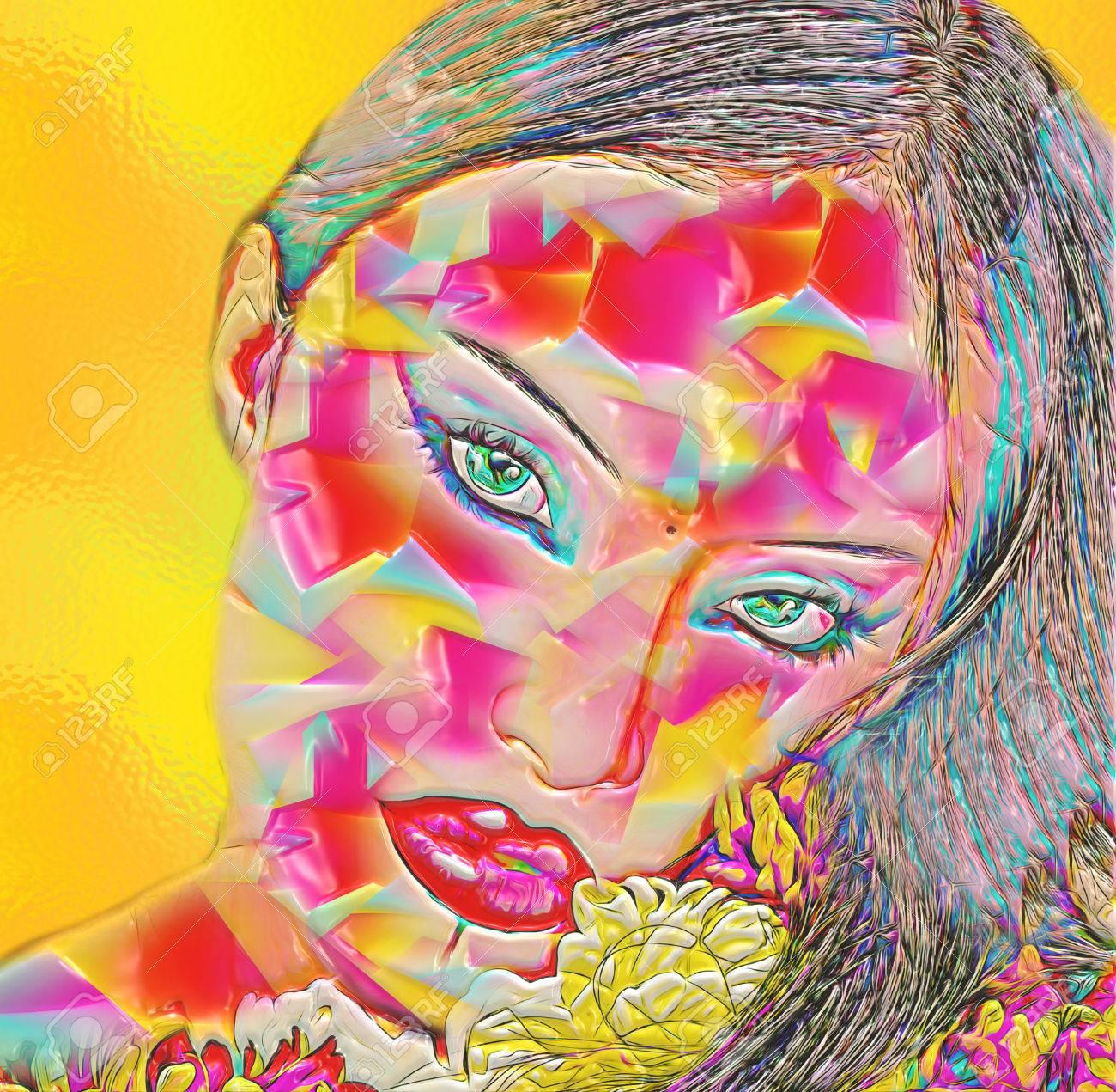 Favoriete Abstracte Digitale Kunst Van Bloemen En Vrouw Gezicht Gecombineerd &UX57