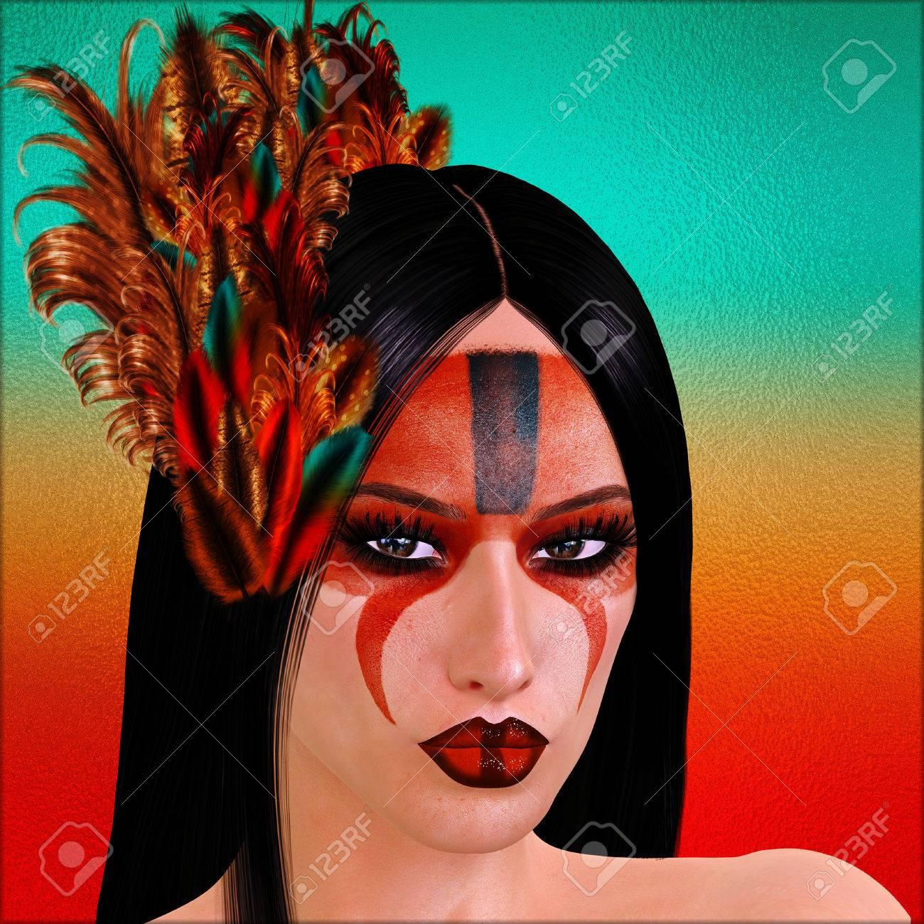 Wunderschön Gesicht Bemalen Referenz Von Native American Galleryn Mit Bemalten Und Federn.