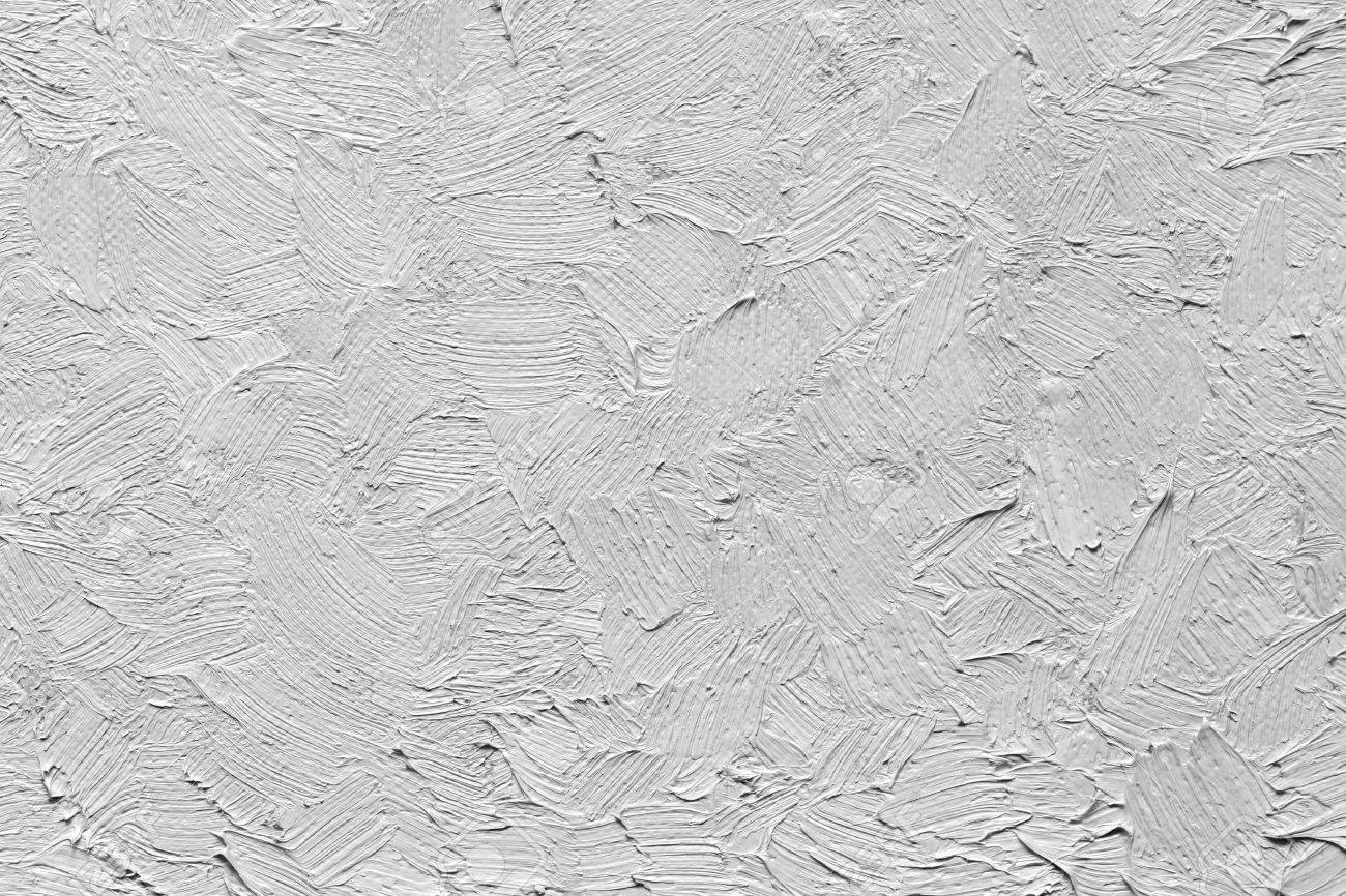 Texture Of An Oil Paint Strokes On Canvas Black And White Image