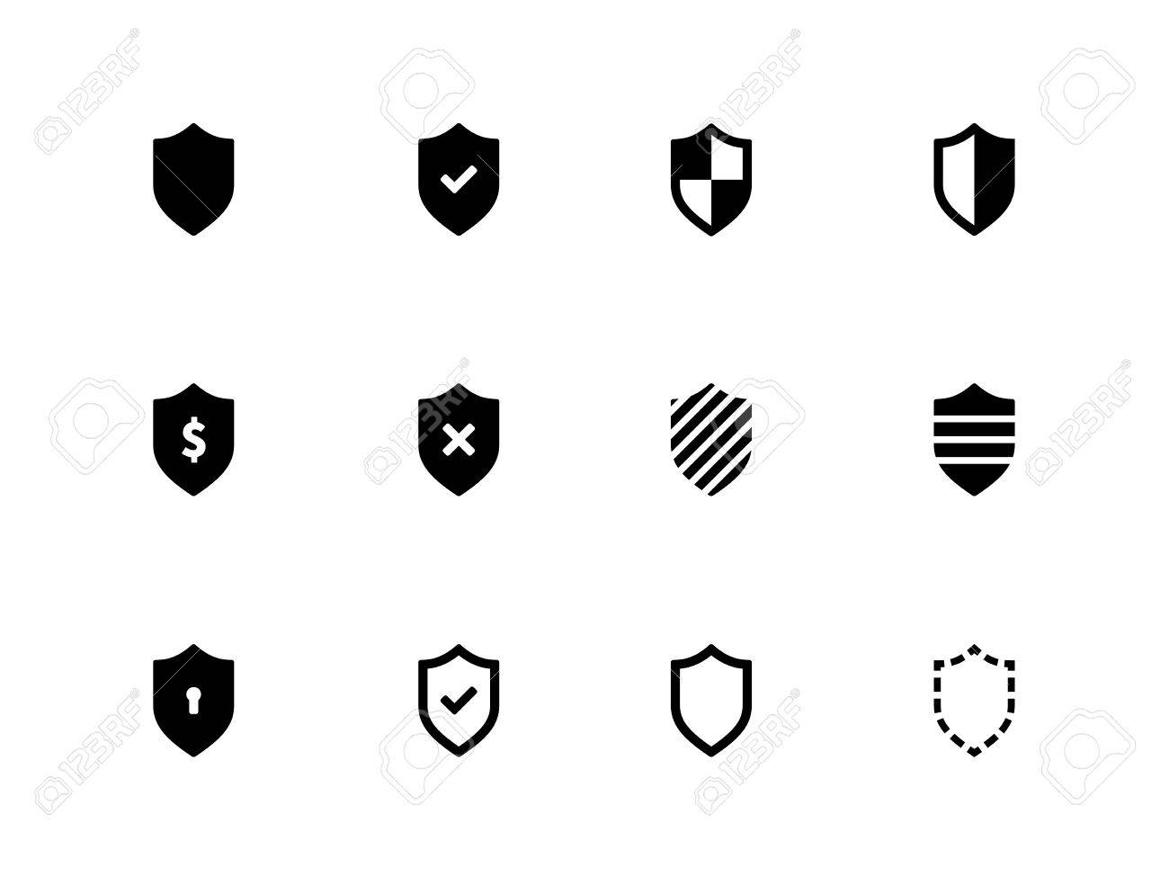 Shield icons on white background Vector illustration - 21598811
