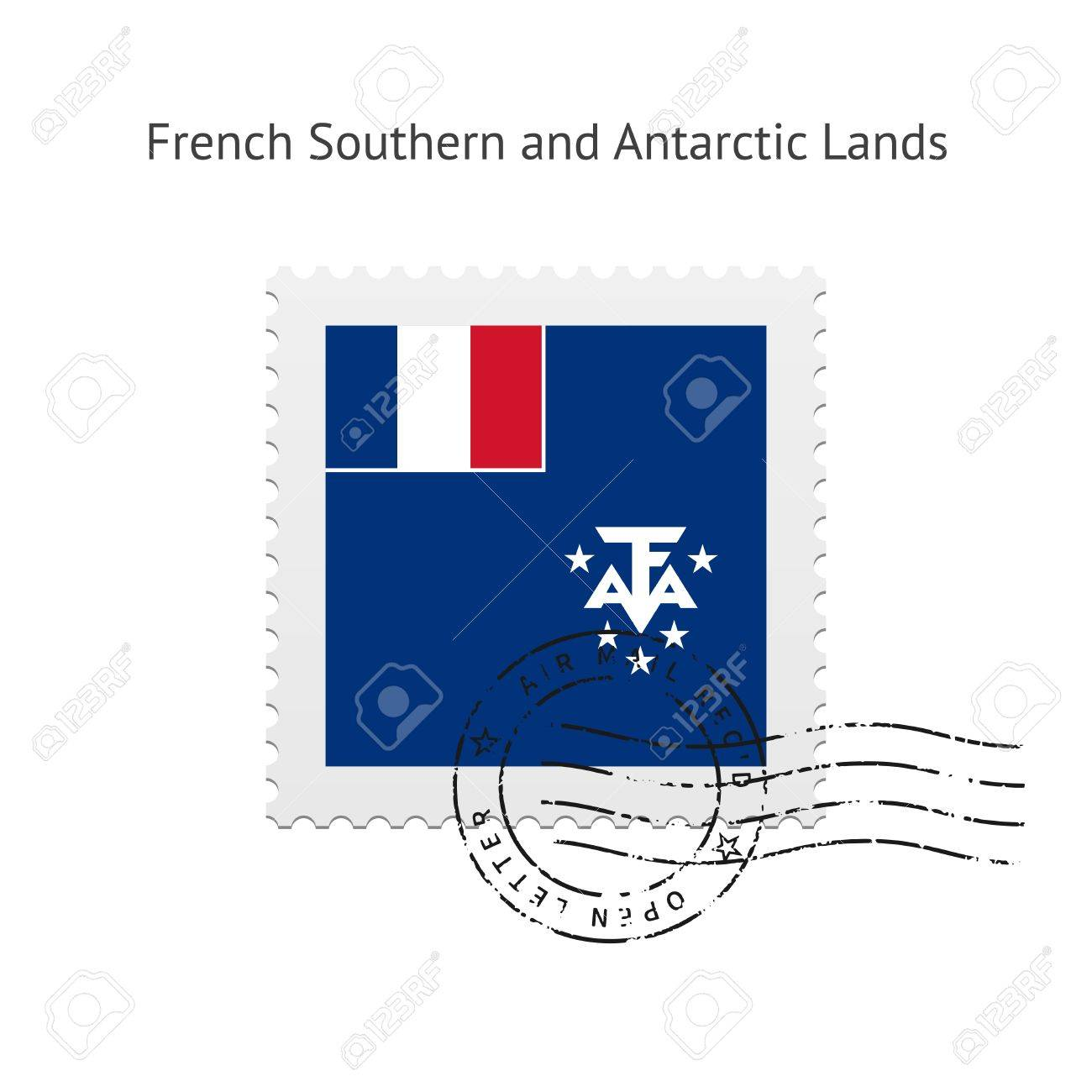 French Southern and Antarctic Lands Flag Postage Stamp on white illustration. Stock Vector - 24352316