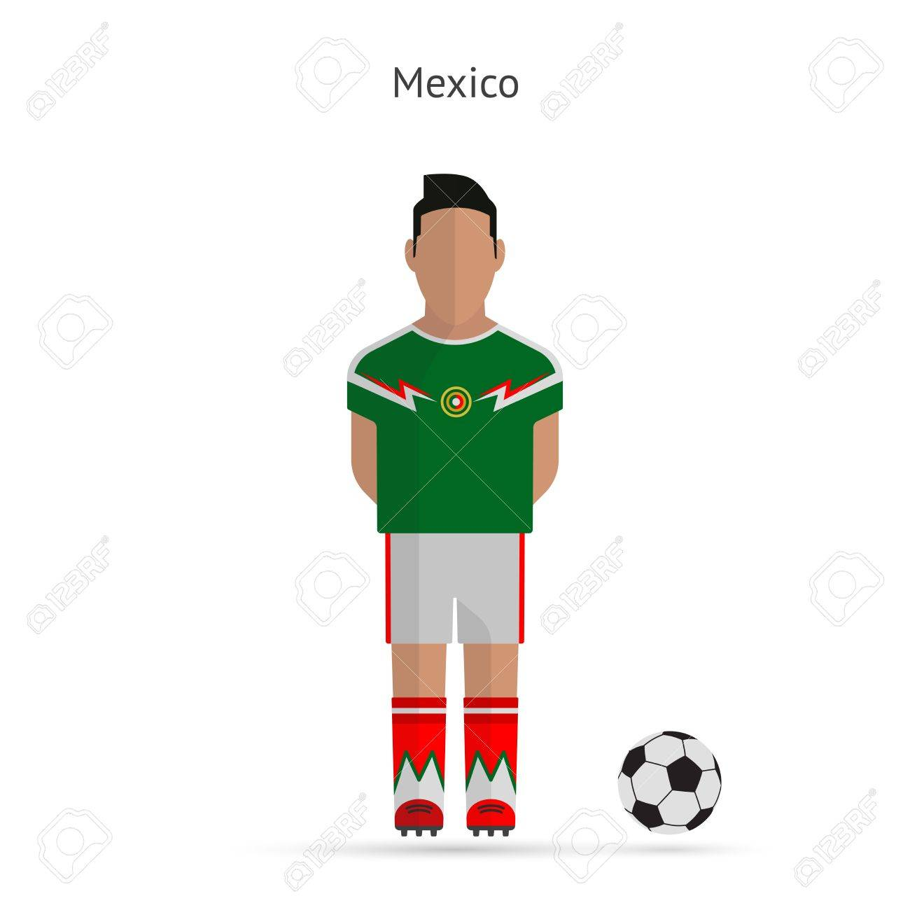 8a6fdf95505 National football player. Mexico soccer team uniform. Vector illustration.  Stock Vector - 27163336