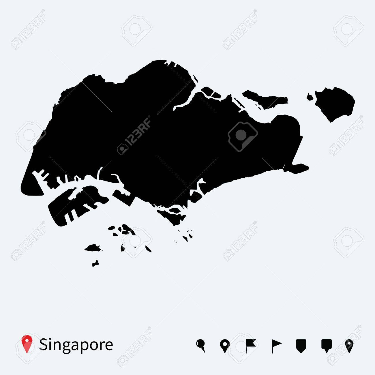 High Detailed Vector Map Of Singapore With Navigation Pins Royalty
