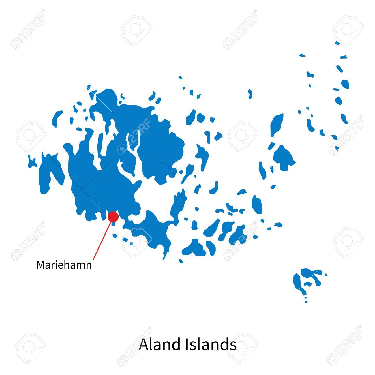 Detailed Vector Map Of Aland Islands And Capital City Mariehamn - Aland islands world map