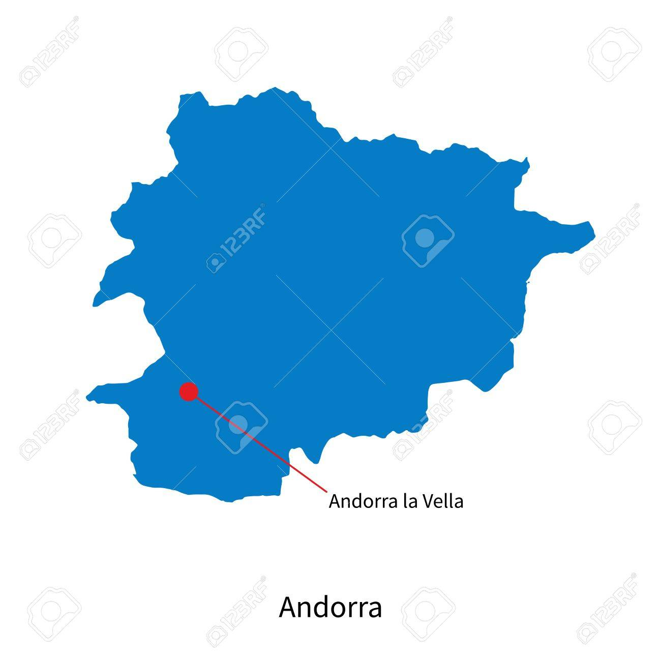 Detailed Vector Map Of Andorra And Capital City Andorra La Vella