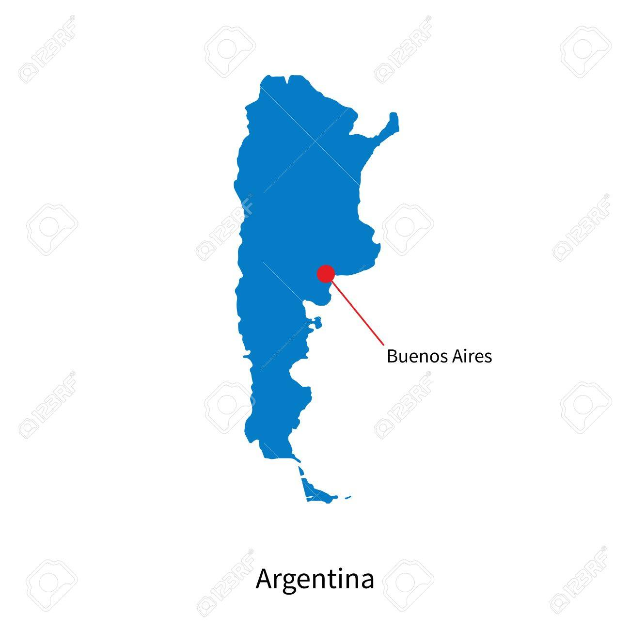 Detailed Vector Map Of Argentina And Capital City Buenos Aires - Argentina cities map