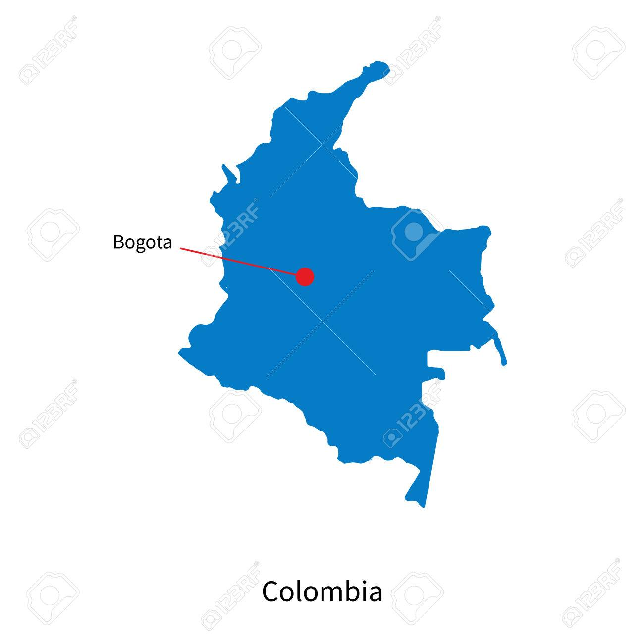 Detailed vector map of Colombia and capital city Bogota