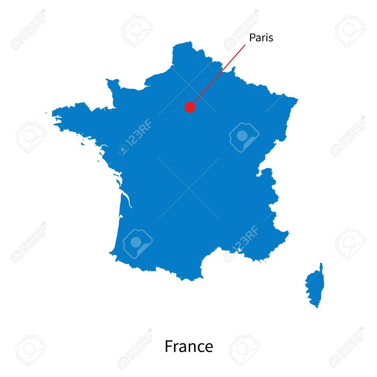 Map Of France With Paris.Detailed Map Of France And Capital City Paris