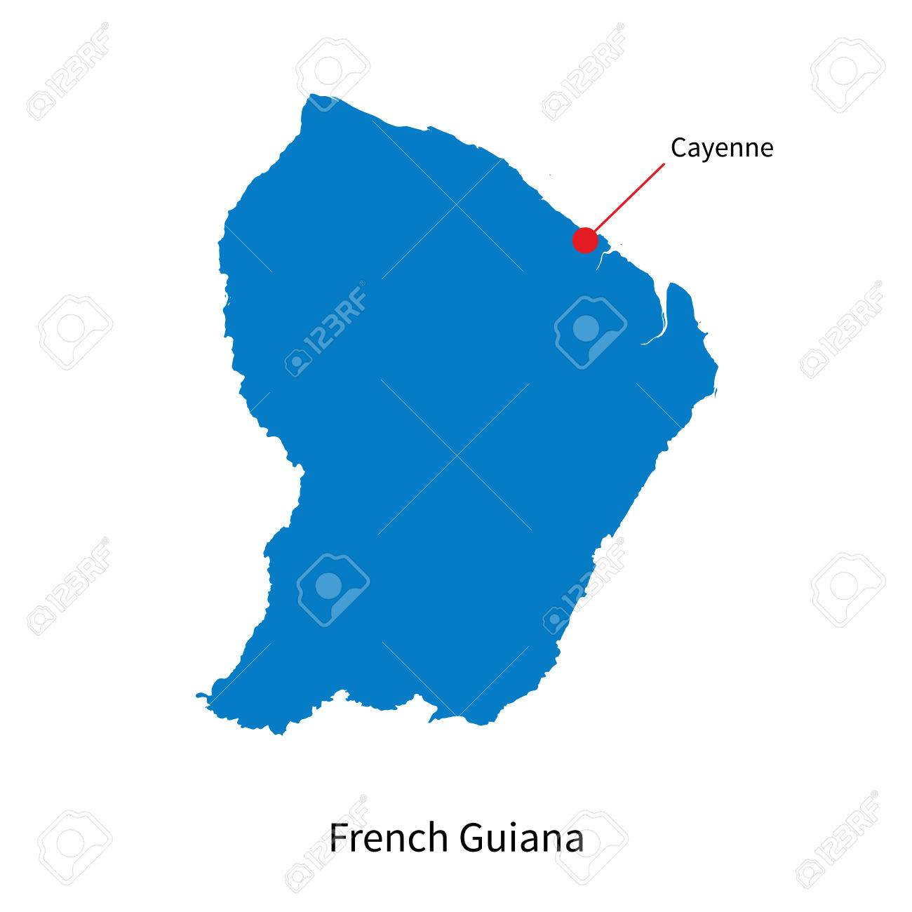 Detailed Map Of French Guiana And Capital City Cayenne Royalty Free