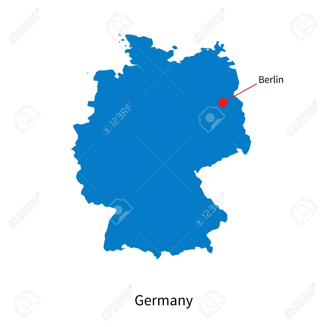 Detailed Map Of Germany And Capital City Berlin Royalty Free