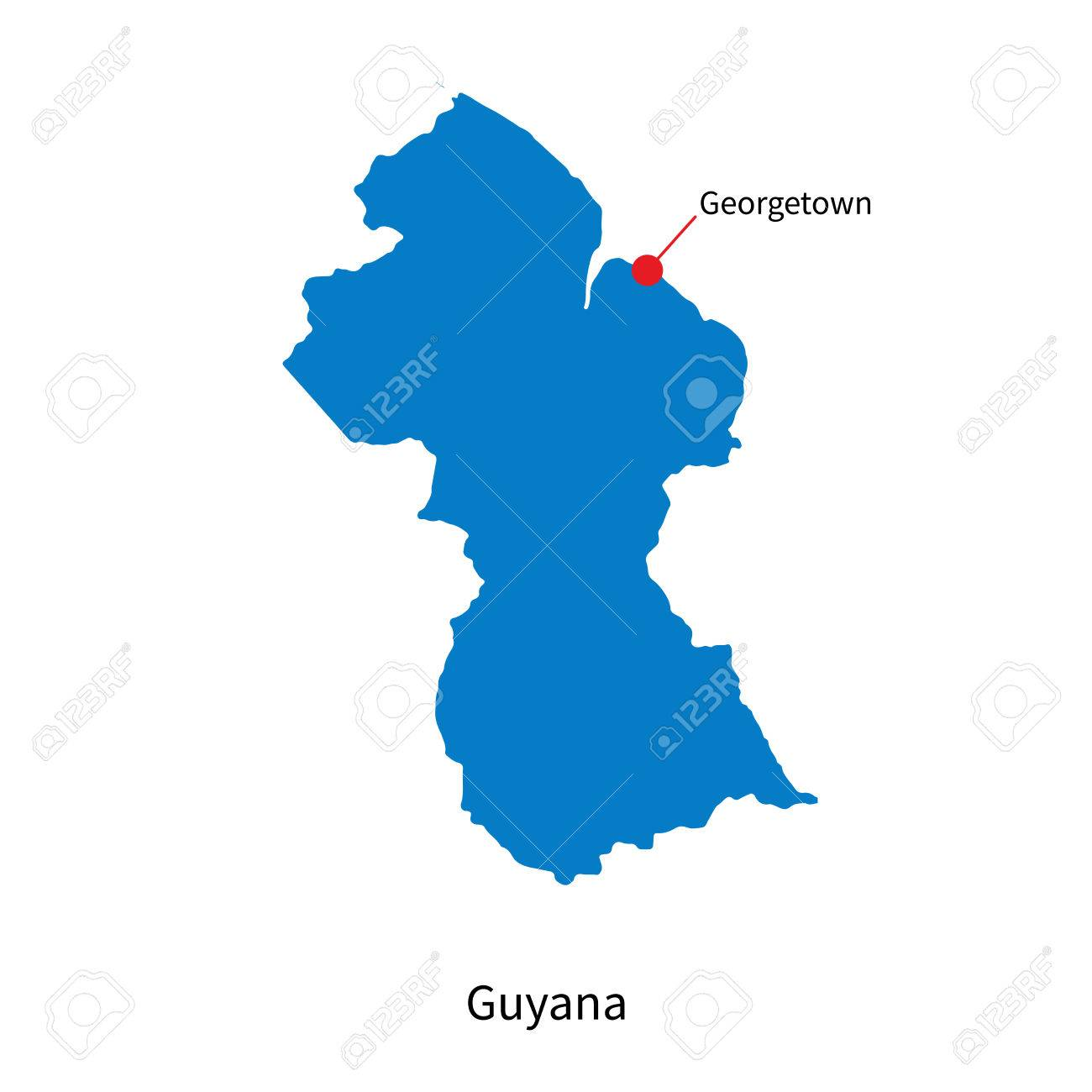 Detailed Map Of Guyana And Capital City Georgetown Royalty Free