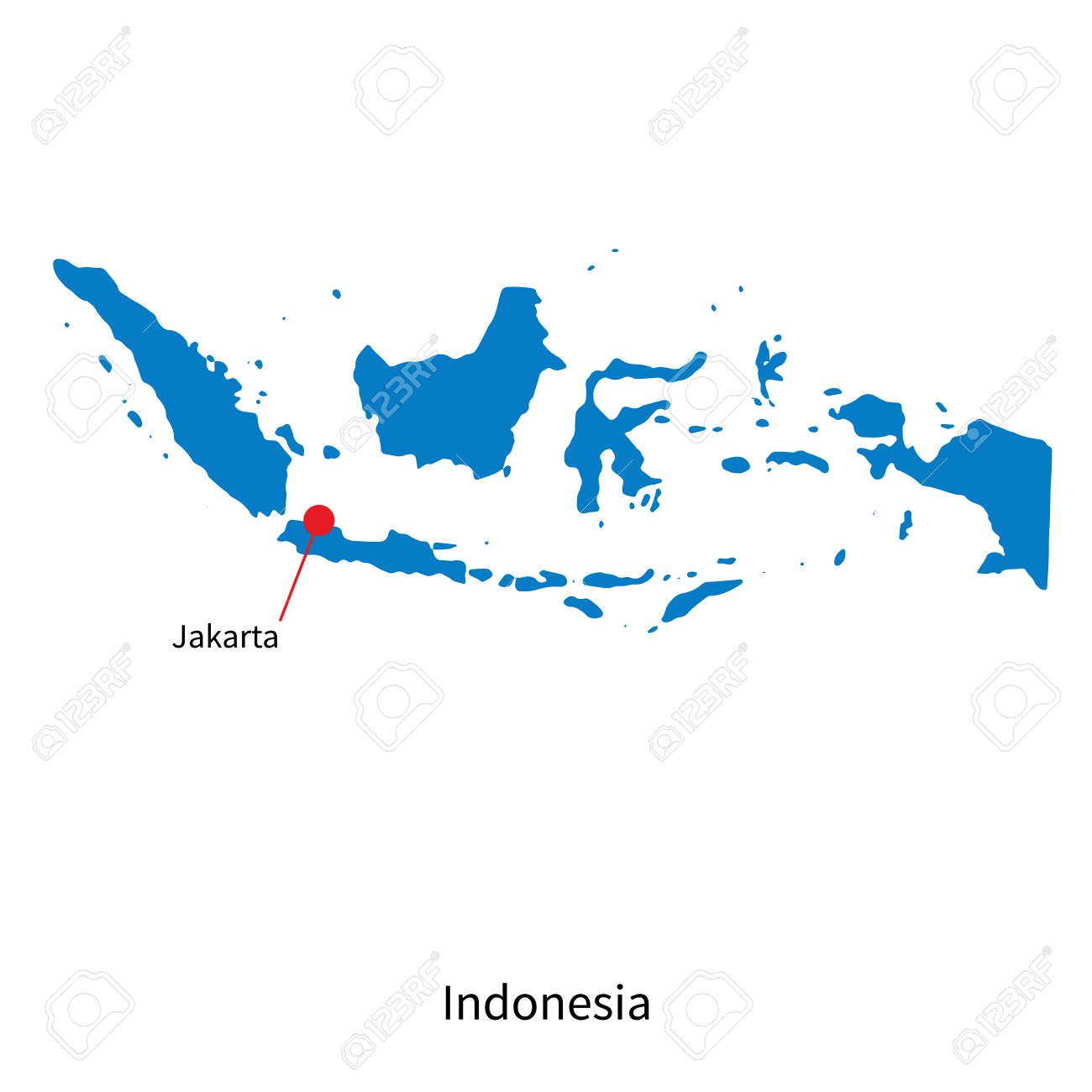 Detailed map of indonesia and capital city jakarta royalty free detailed map of indonesia and capital city jakarta stock vector 31102947 gumiabroncs Images