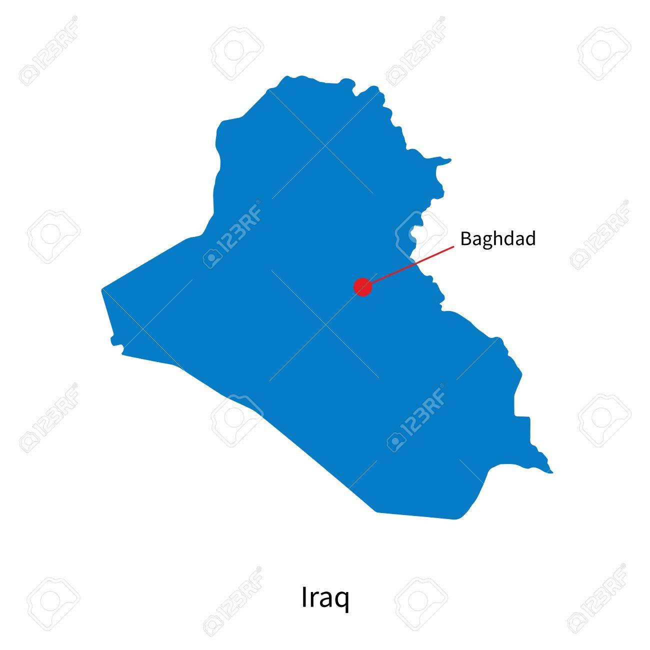 Detailed Map Of Iraq And Capital City Baghdad Royalty Free Cliparts ...