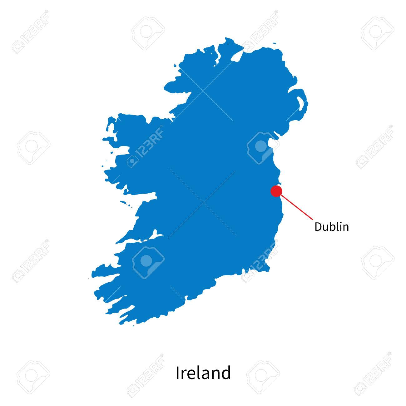 Map Of Ireland Vector.Detailed Map Of Ireland And Capital City Dublin