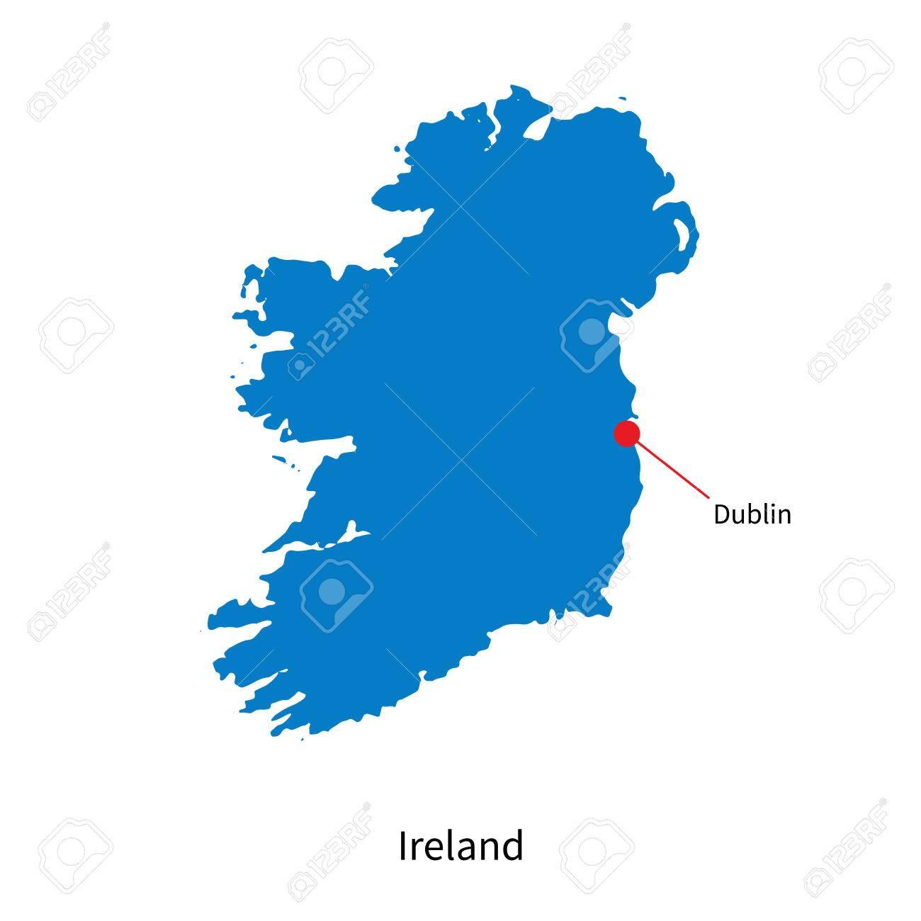 Mapa Detallado De Irlanda Y La Capital Dublín Ilustraciones ...