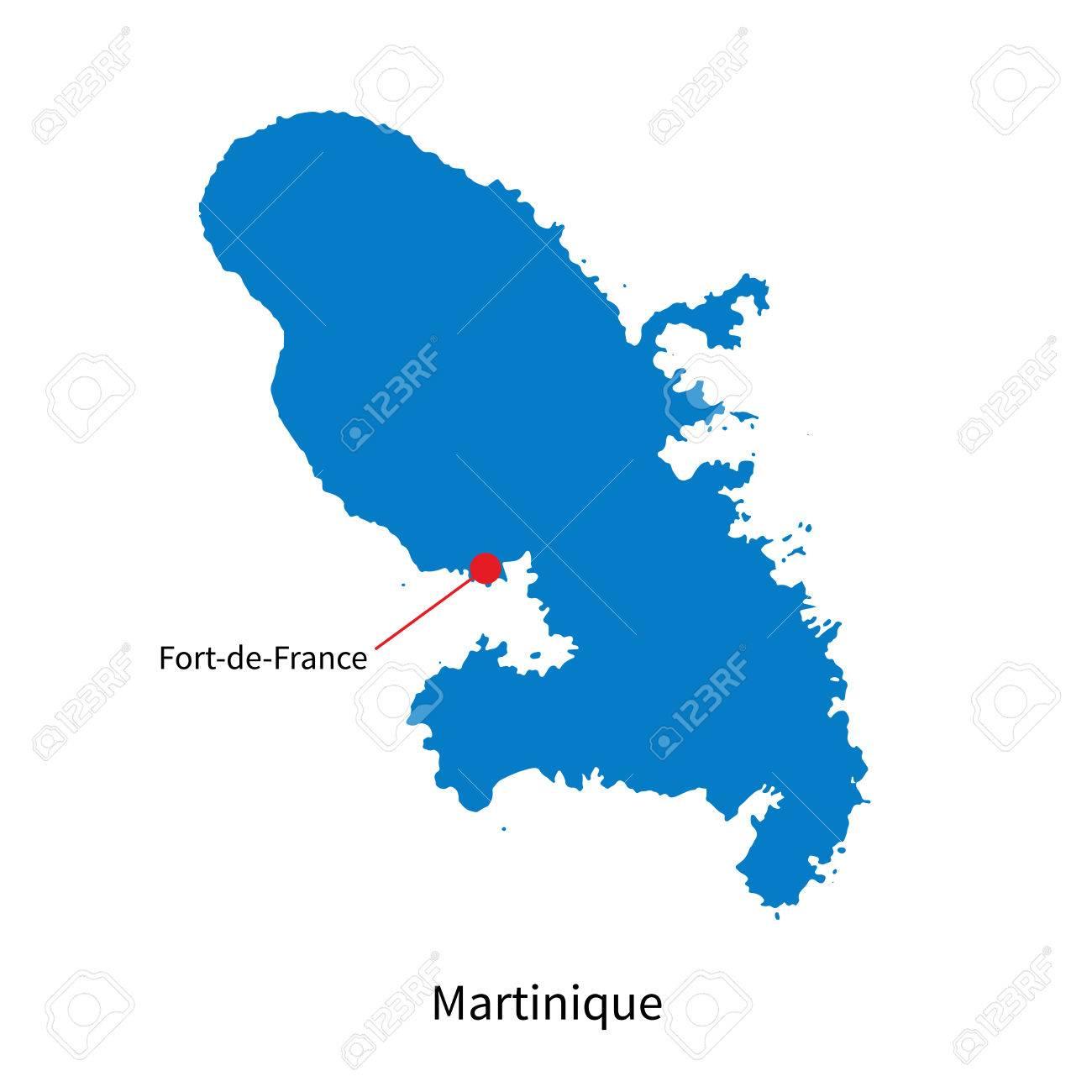 Carte Martinique Detaillee.Carte Detaillee De La Martinique Et De La Capitale Fort De France