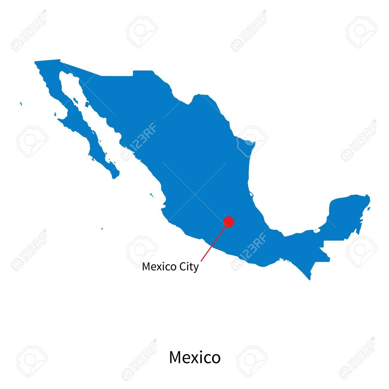 Detailed Map Of Mexico And Capital City Mexico Royalty Free Cliparts ...