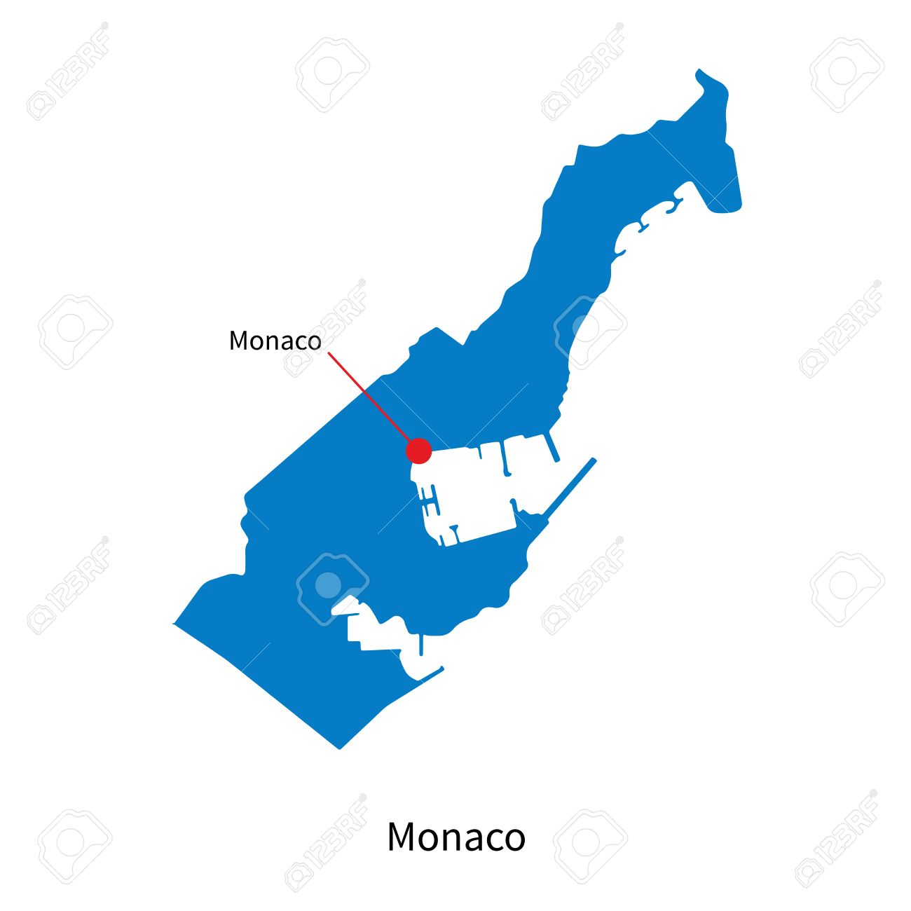 Detailed Map Of Monaco And Capital City Monaco Royalty Free Cliparts