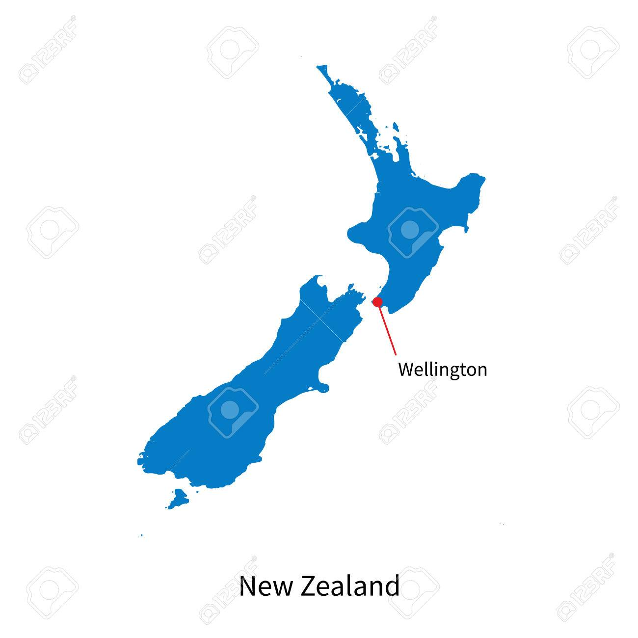 Map Of New Zealand Wellington.Detailed Map Of New Zealand And Capital City Wellington