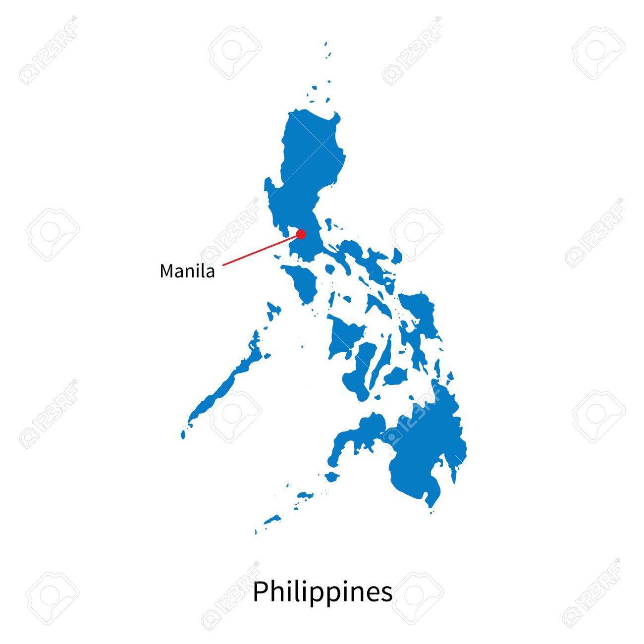 Detailed Map Of Philippines And Capital City Manila Royalty Free ...