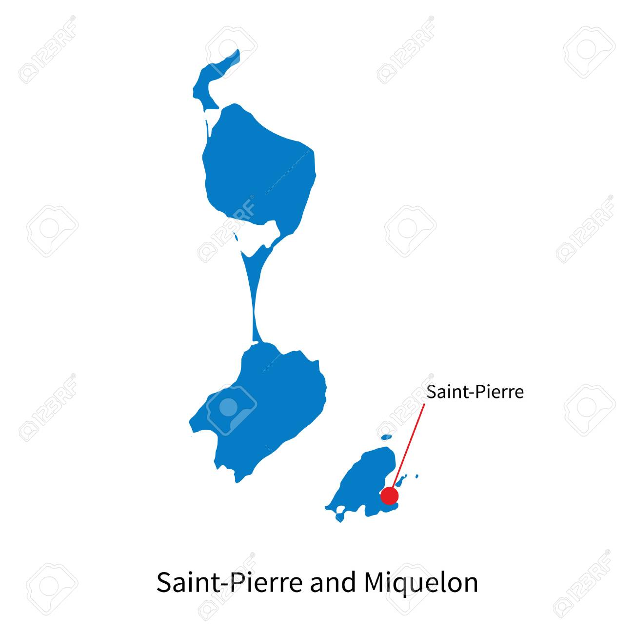 Detailed Map Of SaintPierre And Miquelon And Capital City Saint