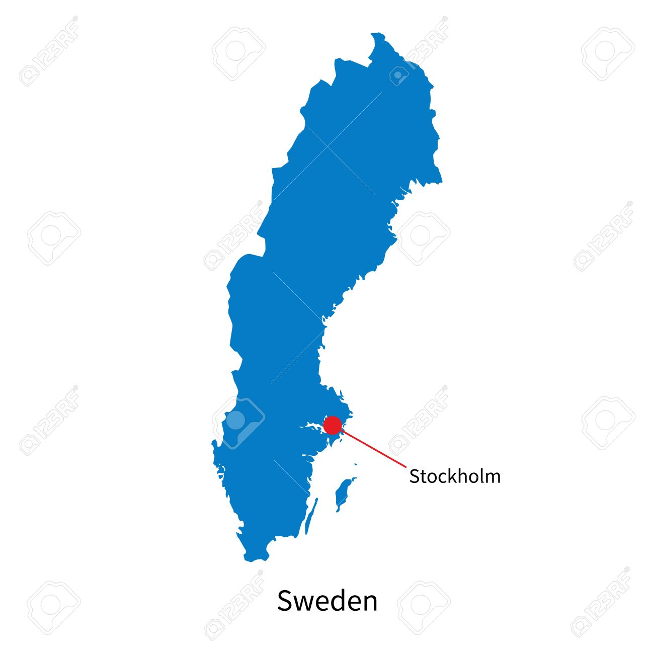 Detailed Map Of Sweden And Capital City Stockholm Royalty Free - Sweden map city