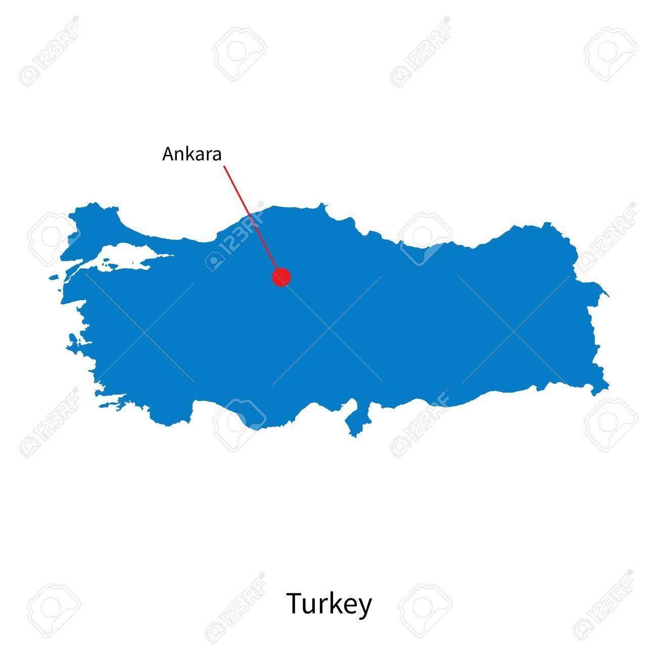 Capital City Of Turkey Map Detailed Map Of Turkey And Capital City Ankara Royalty Free