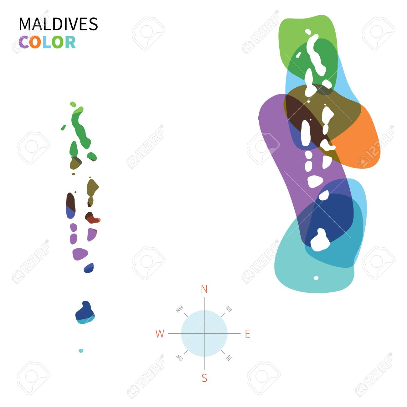 Abstract Vector Color Map Of Maldives With Transparent Paint ...