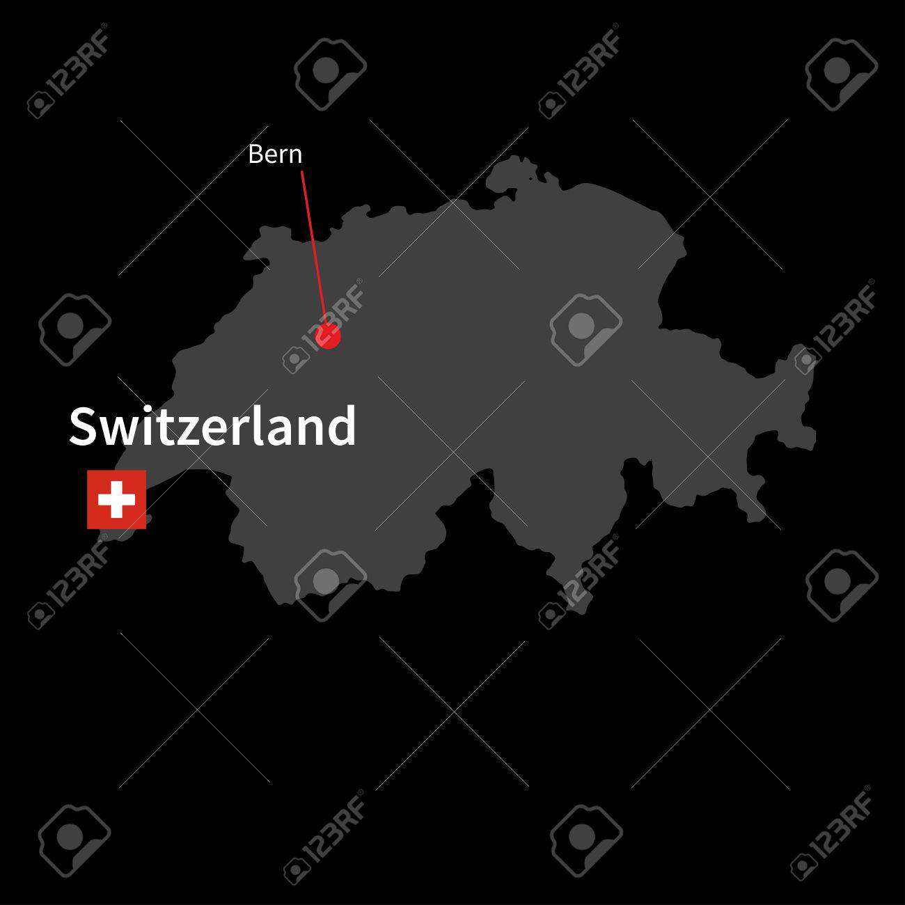 Detailed Map Of Switzerland And Capital City Bern With Flag On ...