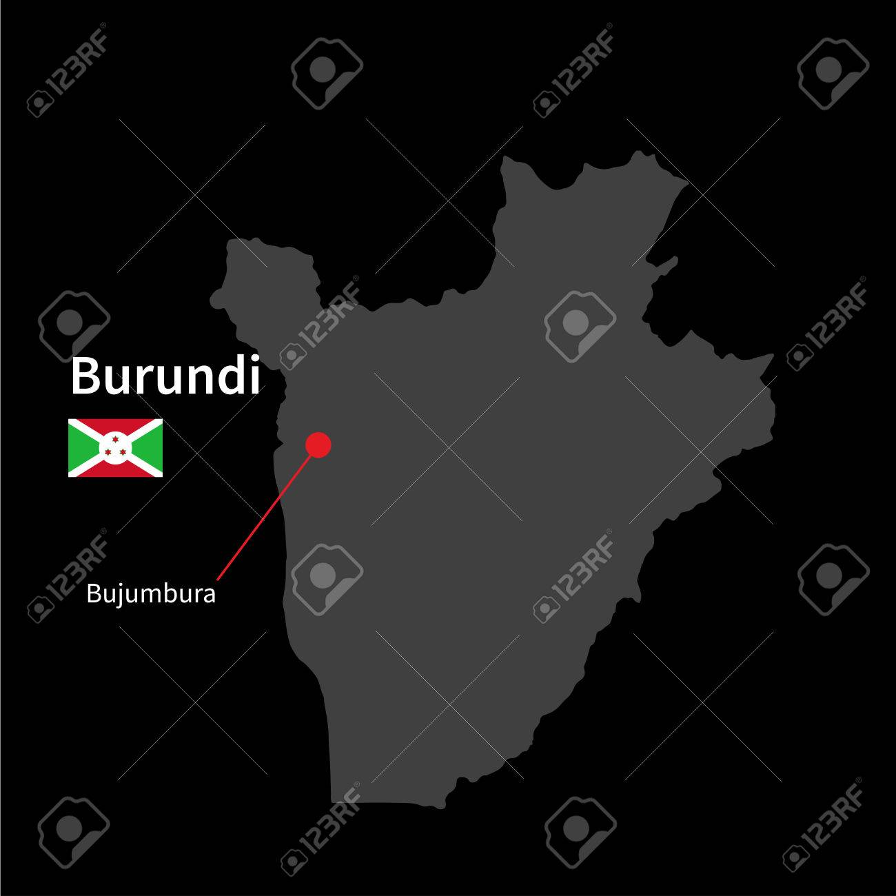 Detailed Map Of Burundi And Capital City Bujumbura With Flag