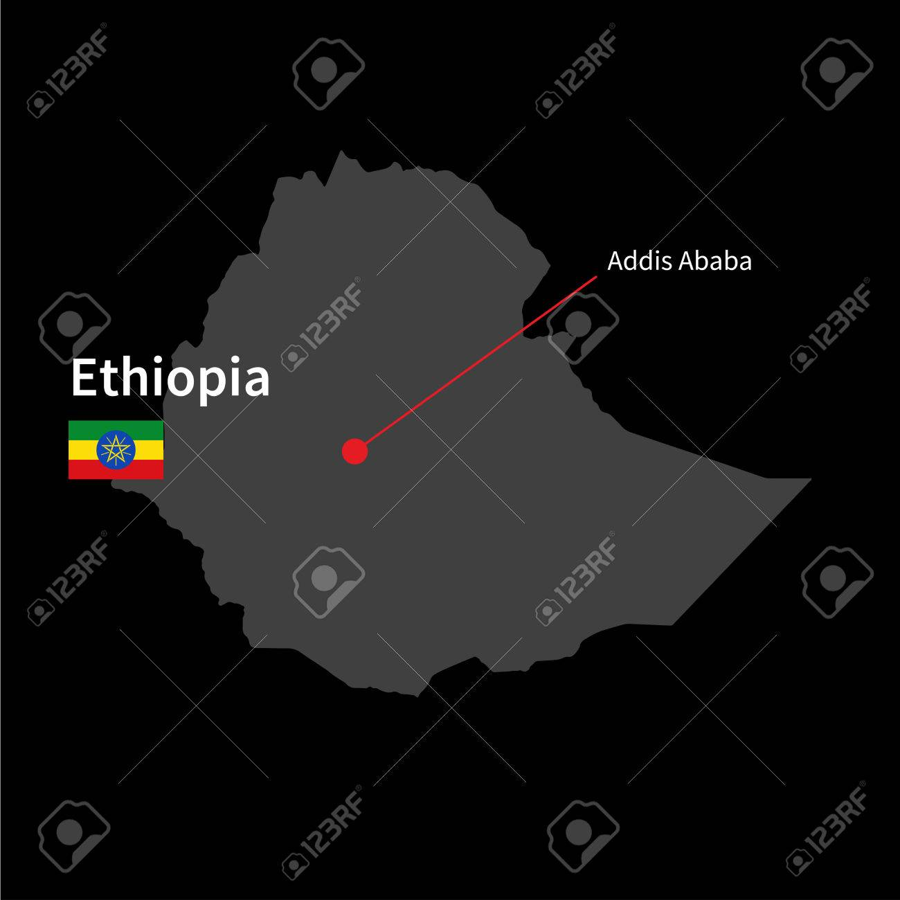 Detailed Map Of Ethiopia And Capital City Addis Ababa With Flag ...