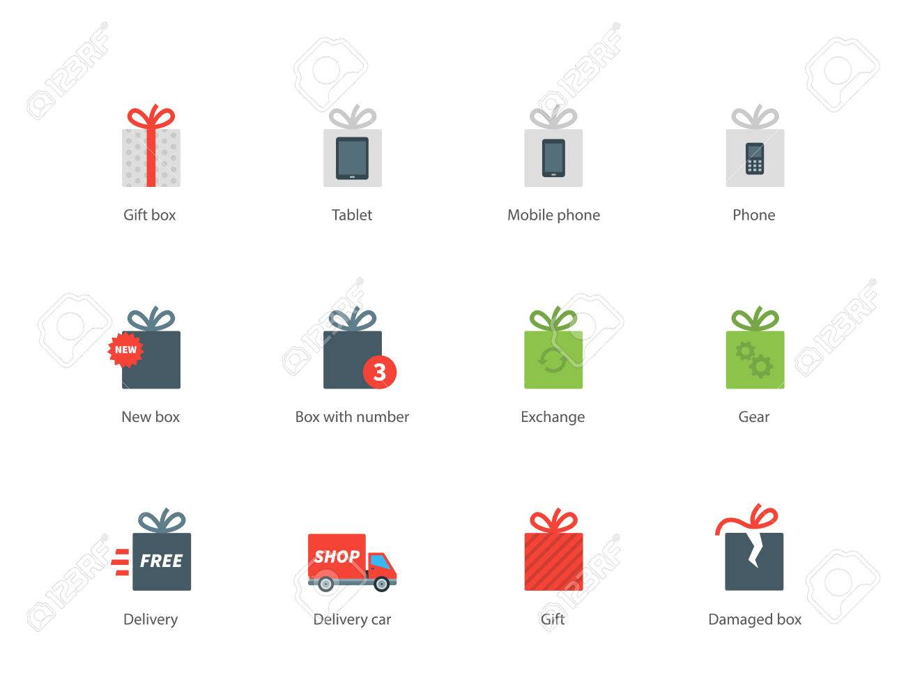 Technology gift boxes vector color icons set modern electronic technology gift boxes vector color icons set modern electronic items surprise and birthday icons negle Choice Image