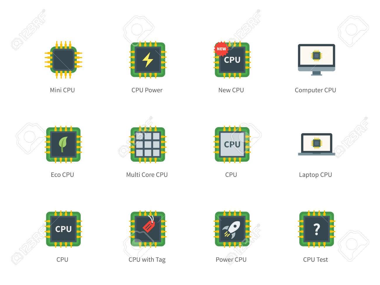 Zentraleinheit Vektor Farbe Symbole Gesetzt. Computing Und Moderne ...