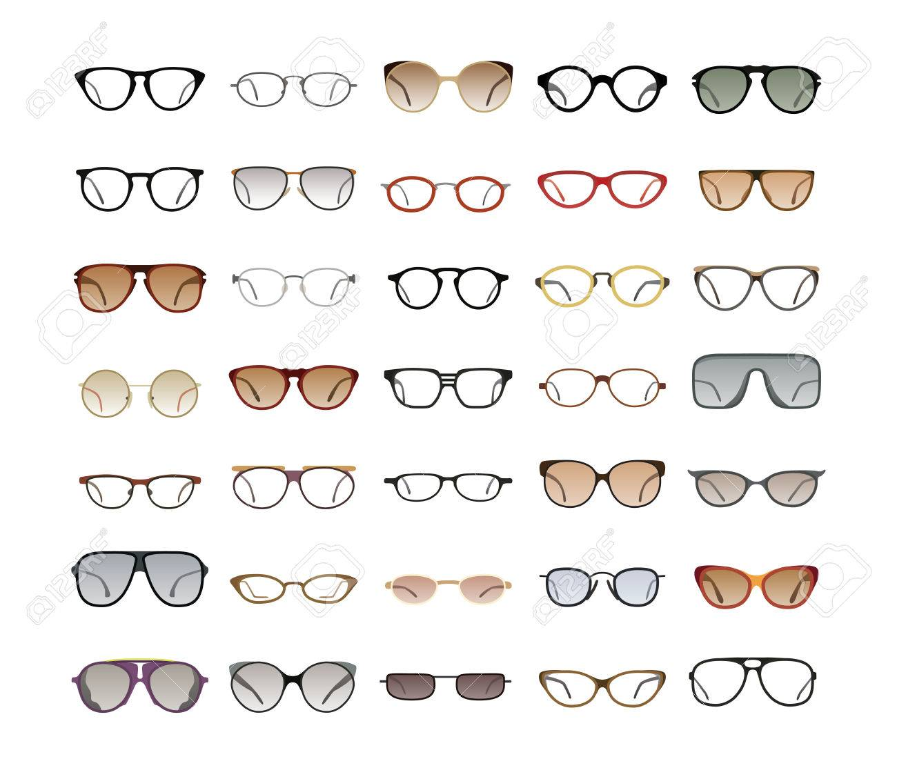 Vektor-Sammlung Von Brillen Und Sonnenbrillen Mit Verschiedenen ...