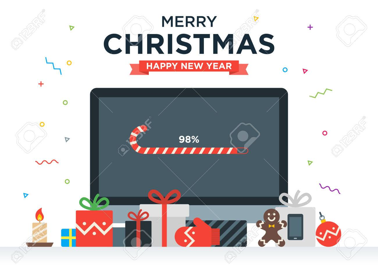 Geek Christmas Gifts.Geek Happy New Year And Christmas Card With Abstract Loading