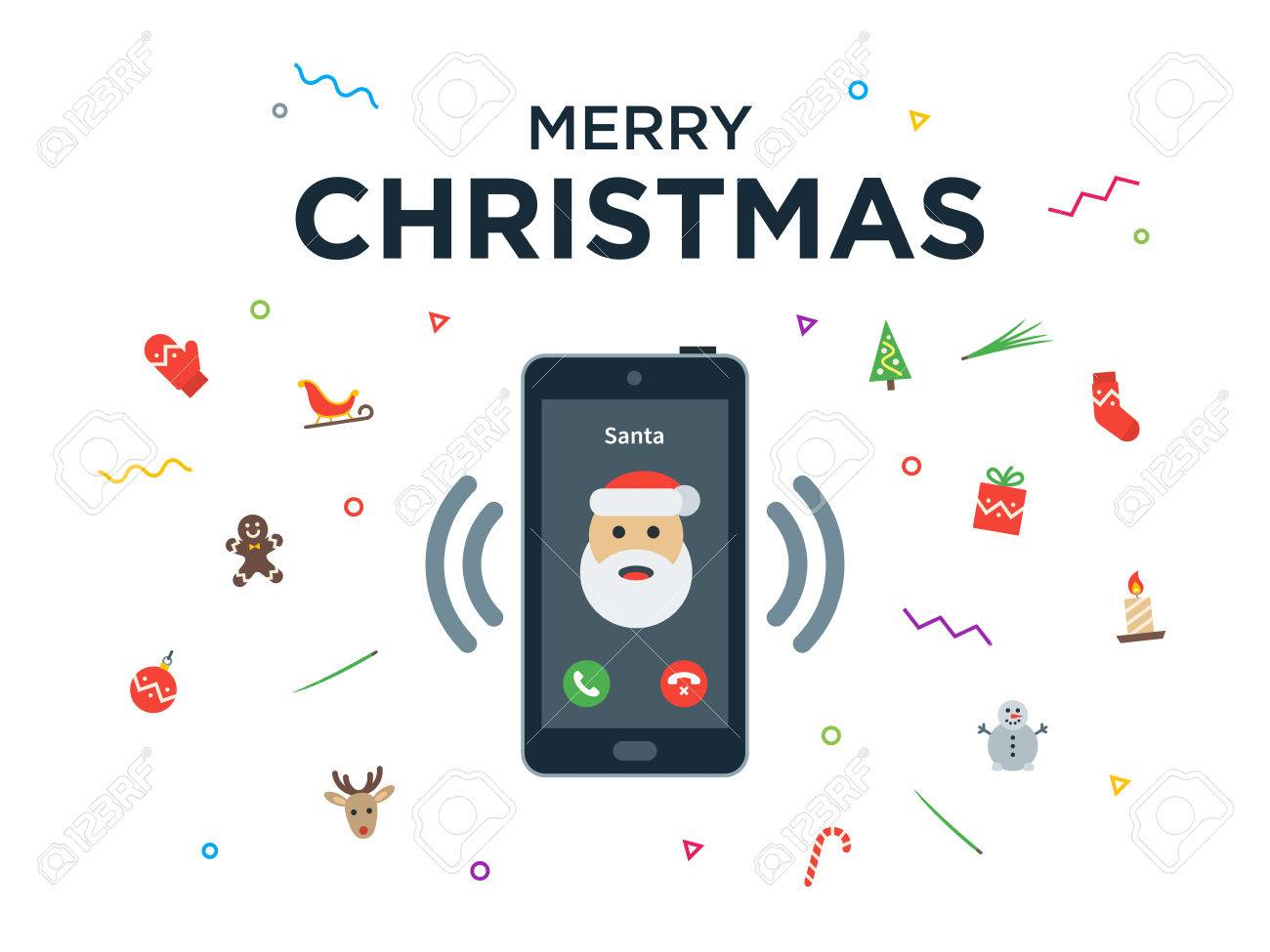 Christmas phone call from santa claus with greeting christmas christmas phone call from santa claus with greeting christmas and happy new year lettering vector m4hsunfo