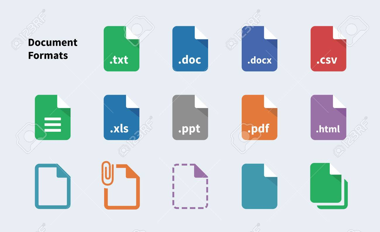 file formats of document icons. isolated vector illustration