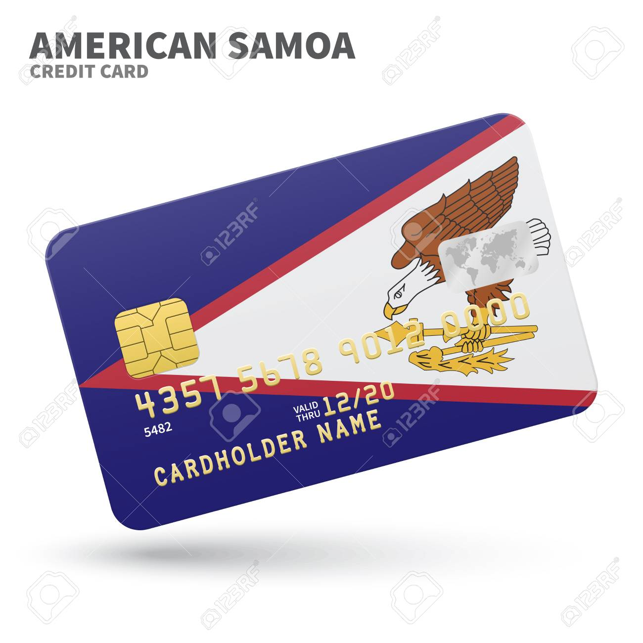 Credit Card With American Samoa Flag Background For Bank ...