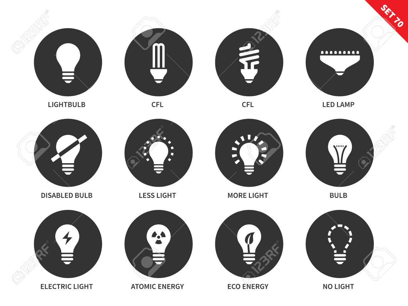 Licht Und Glühbirnen Vektor-Icons Gesetzt. Beleuchtung Und Strom ...