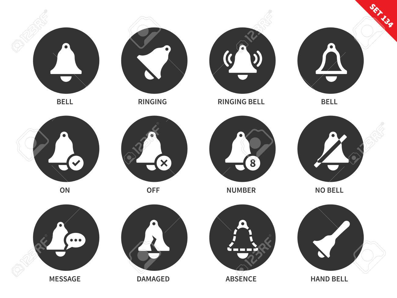 Alarm bells vector icons set  Ringing bell, bells showing on-off